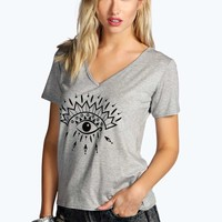 Julia Eye Symbol Print Oversized Tee