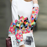 White Geometric Print Long Sleeve Sweatshirt