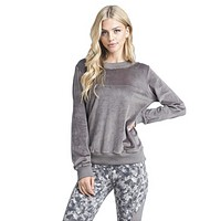 Mono B Women's Velour Long Sleeve Pullover Lounge Top with Lace Up Back