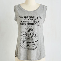 Quirky Mid-length Sleeveless Pizza My Heart Top by ModCloth