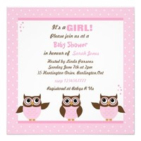 Cute Owls It's a Girl Baby Shower Invitations
