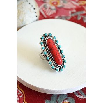 Navajo Concho Inspired Statement Ring in Turquoise and Red