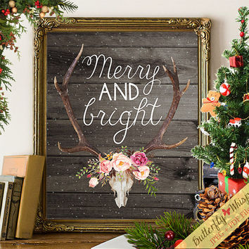 Merry and bright, Christmas decorations, Christmas decor, Christmas printable, Christmas print, antlers print, deer horns print, winter