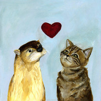 Otter and Kitty Love  Art Print by Jenna Freimuth
