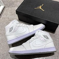 Air Jordan 1 Mid AJ1 Pure Color Men's High-Top Basketball Shoes