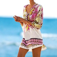 Pareos Robe de plage Swimsuit cover up 2020 Chiffon Print Snake Beach Cover up Bathing  suit Cover ups  Swimwear Cover up