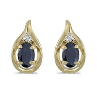 14K Yellow Gold Oval Sapphire and Diamond Earrings (1.20ct. Tgw)