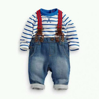 Baby Boy Long Sleeved T-shirt and Jeans Bib Pants Outfit