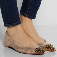 Christian Louboutin Geo spiked suede and leather ballet flats NET-A-PORTER.COM