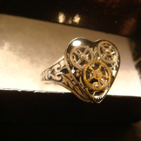 Victorian Style Steampunk Clockwork Heart Gears Ring in Antique Silver- Great Valentines Day Gift (1586)