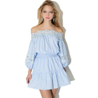 Lace Brocking Strapless Tube A Dress