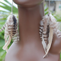 Natural Feather Earrings by marcieroxx on Etsy