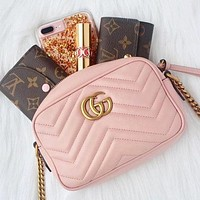 Alwayn GUCCI Small Square Bag Classic Wave pattern Shopping Leather Shoulder Bag Crossbod Pink
