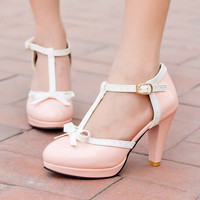 2015 Summer Shoes Sweet Princess Style Women High Heel Pumps Girl PU Sapato New Arrival Lolita Shoes 4 Colors Size 34-43 YN
