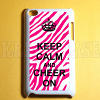Ipod Touch 4 Case - Keep calm and cheer on zebra print Ipod 4G Touch Case, 4th Gen Ipod Touch Cases