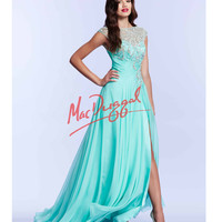 Mint Green High Slit Ruched Waist Gown