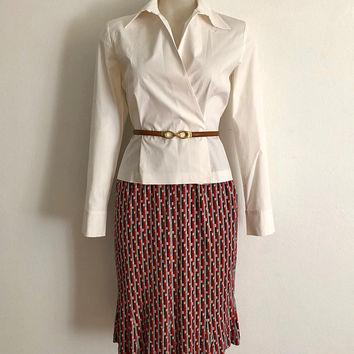ANNE KLEIN!!! Vintage 1990s 'Anne Klein' cream stretch poplin fitted shirt with crossover front and semi exaggerated collar