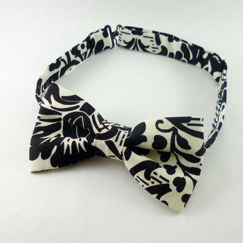 Mens bow tie damask black and cream floral - damask bow tie - floral bow tie - adjustable bow tie