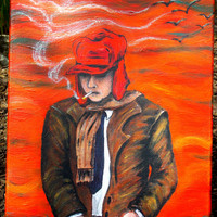 Holden Caulfield Catcher In The Rye Original Canvas Artwork Acrylic Canvas Painting