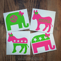 Republican Elephant or Democrat Donkey Monogram or Name Sticker or Decal - Any Color Combo! For Laptop, Car, Notebook, phone, iPhone, etc.