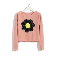 ZLYC 3D Crochet Sunflower Print Casual Cropped Sweatshirt
