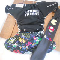Gamer Cloth Diaper and Tie set! OS sized! Gamer Diaper! Geeky Tie! Nerdy set! Nerdy Cloth Diaper! Geeky Cloth Diaper! Diaper set!
