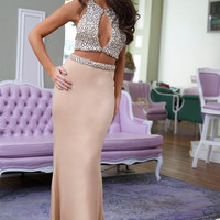 Jovani 24286 Nude Jeweled Top Two Piece Prom Dress Evening Gown
