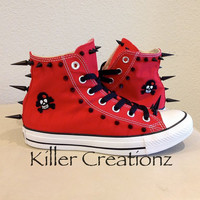 New Custom spiked red Converse Chuck Taylors by KillerCreationz