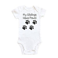 Newborn Infant Baby Girl Clothes Romper My Sibling Have Paws Letter Short Sleeve Baby Romper Jumpsuit Playsuit Outfit Sunsuit