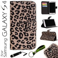 Yesoo Leather Wallet Case Cover with Aluminum Touch Pen and Silicone Key Chain for Samsung Galaxy S4 - Leopard Skin Pattern