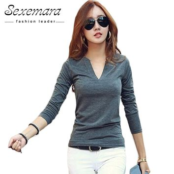2017 solid 14 colors V-Neck  Blouses Sexy Slim Knitted Long Sleeve  Korean Tops for Women