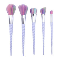 5pcs Makeup Brushes Set rainbow hair Cosmetic Foundation Eyshadow Blusher Powder Blending Smooth Brush beauty tools kits