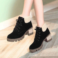 Black Gray Brown Suede Round Toe Lace-up Retro Thick Heels Martin Boots For Women 2016 Winter New Warm Pumps Booties Shoes