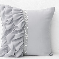 Silver grey ruffled sequin throw pillow - 16X16  Decorative Pillow - Gray cushion cover - Gift Pillow spring, summer