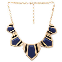 FOREVER 21 Faux Stone Dagger Bib Navy/Gold One