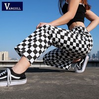 PANTS Plaid Pants Womens High Waist Checkered Straight Loose Sweat Pants Casual Fashion Trousers Pantalon Femme Sweatpants