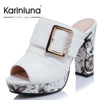 KarinLuna Big Size 32-42 Fashion Women Bohemia Flower Print High Heel Summer Shoes Party Wedding Open Toe Platform Sandals