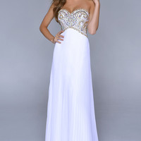 Strapless White Beaded Prom Gown by Nina Canacci