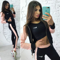 Nike Fashion Long Sleeve Splicing Show Thin Casual Sports Hooded Three Piece Suit