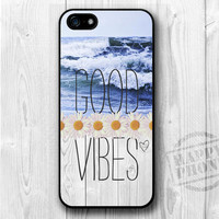 Good Vibes, Sea, Ocean, Waves, Daisy, Wood, Heart, iPhone 5 case, iPhone 5 cover