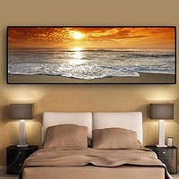 Shiny Landscape Sunset Nature View Canvas Painting