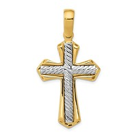 14k Two Tone Gold Solid Rope Cross Pendant, 22 x 43mm
