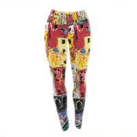 "Josh Serafin ""Cinque Terre"" Red Yellow Yoga Leggings"