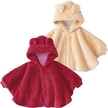 IYEAL High Quality Baby Cotton Bear Cloak Baby Winter Cloak Infant Baby Outwear Newborn Baby Shawls Jacket Red Cloak