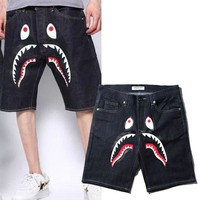 Print Peep Toe Men's Fashion Stylish Casual Shorts Jeans [10272574087]