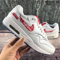 Best Online Sale Supreme x Louis Vuitton x Nike Air Max 1 Custom LV x Sup White Red Sport Shoes Running Shoes
