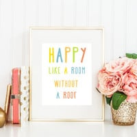 HAPPY Pharrell Williams Song Typography Print Poster Lyrics Modern Wall Art Colorful Playful Contemporary  **Buy 2 Get One FREE**