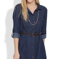 Long Sleeve Shirt Dress with Button Front and Braided Belt