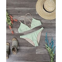 Final Sale - Dippin' Daisy's Strappy Bikini Set - Nude/Sage