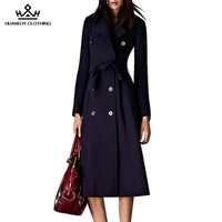 2016 Brand High-end Autumn Winter Women's Double Breasted Turn-down Collar Slim Wool Trench Coat with Saches Plus Size - Blue